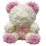 PINK AND WHITE ROSE BEAR